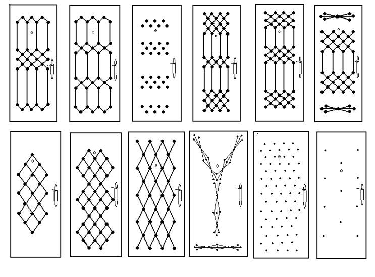 Варианты доступных рисунков из пуговиц для стальных дверей эконом класса.  Стальные двери эконом класса...
